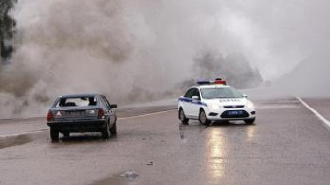 В Токсово загорелась маршрутка с пассажирами