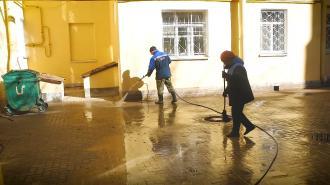 Мусор с улиц Петербурга убирали более тысячи дворников