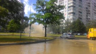 Фонтан вонючей коричневой воды забил на улице Кораблестроителей