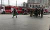 Утром пожарные высадились около станций метро на синей ветке