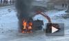 Появилось видео отважного экскаватора, который пытался потушить горящий грузовик