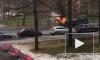 Появилось видео с горящим эвакуатором на Васильевском острове