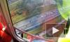 Огромную пробку КАД из-за ДТП с автобусом сняли на видео с вертолета