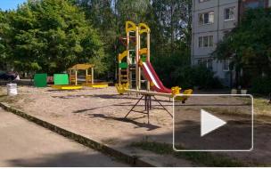 Видео: двор дома на Приморской, 22А получил новую детскую площадку