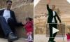 Видео из Египта: У пирамид встретились самый высокий мужчина и самая маленькая женщина планеты