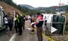 Появилось видео перевернувшегося автобуса с российскими туристами в Турции