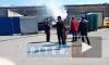 Появилось видео с пожара на парковке такси на Седова