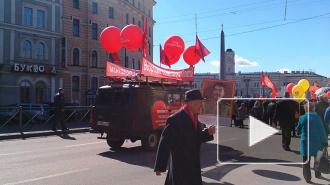 Первомайское шествие в Петербурге закончилось митингом и концертом