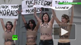 Путина и Меркель атаковали голые Femen с непристойностями